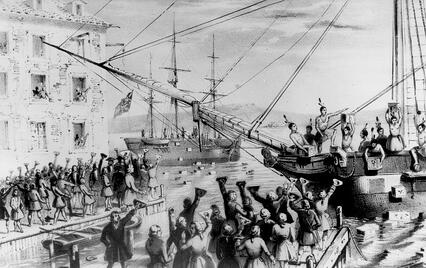 Artist's depiction of the Boston Tea Party