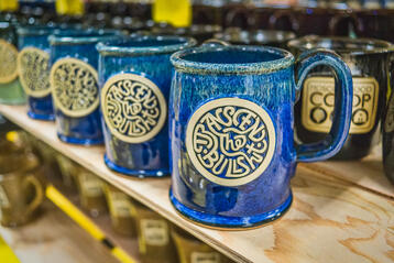 Sunset Hill Stoneware mugs in Northern Lights