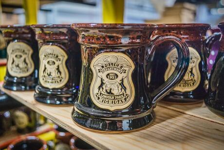 Lincoln Park Police Department Steins from Sunset Hill Stoneware in Tigers Eye