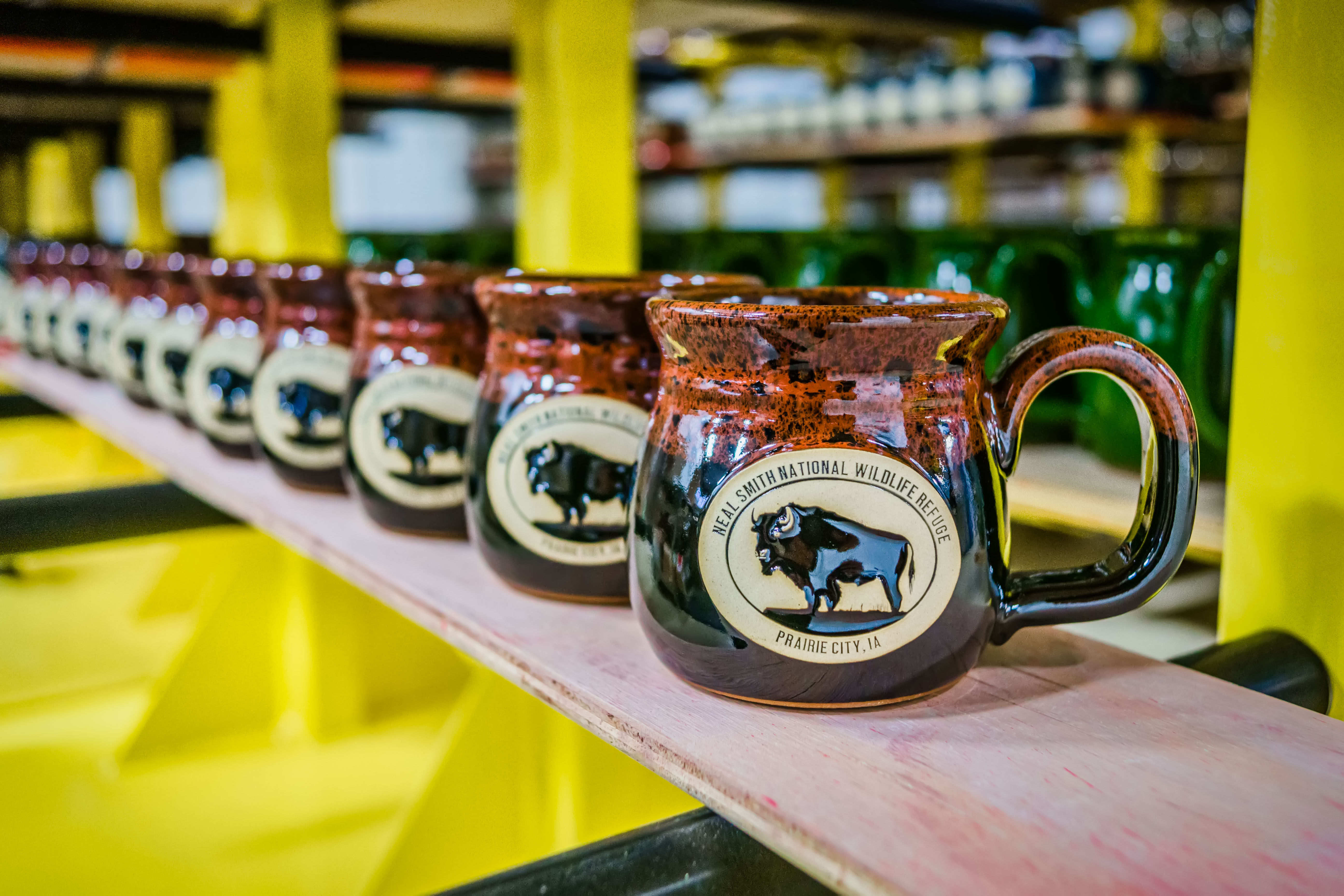 Sunset Hill Stoneware mugs in a leading line