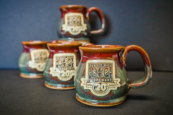Sunset Hill Stoneware mugs in Cranberry Bog