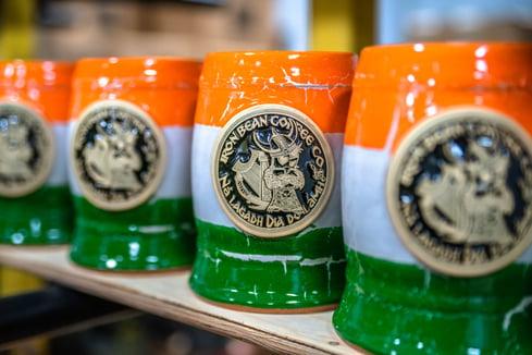 Tricolor Irish stein for Iron Bean Coffee Company
