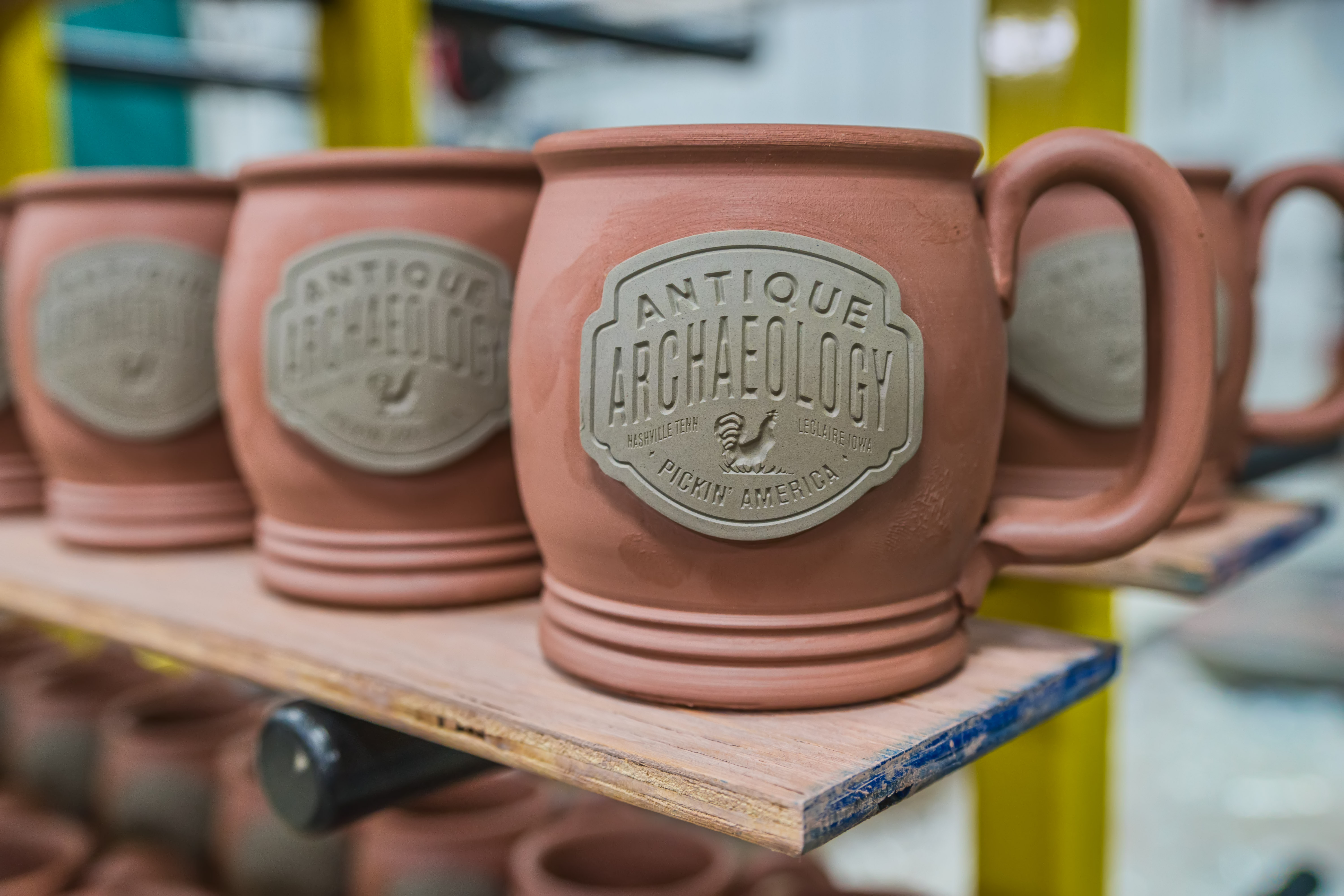 Air drying Sunset Hill Stoneware mugs
