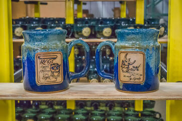 Sunset Hill Stoneware dual-medallion steins from Iron Bean Coffee Company