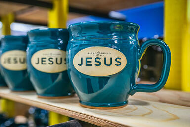 Sight and Sound Theatres Jesus mug in Heritage Green
