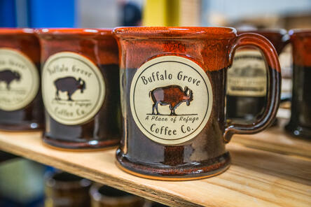 Sunset Hill Stoneware mugs for Buffalo Grove Coffee Co. in Autumn Fire