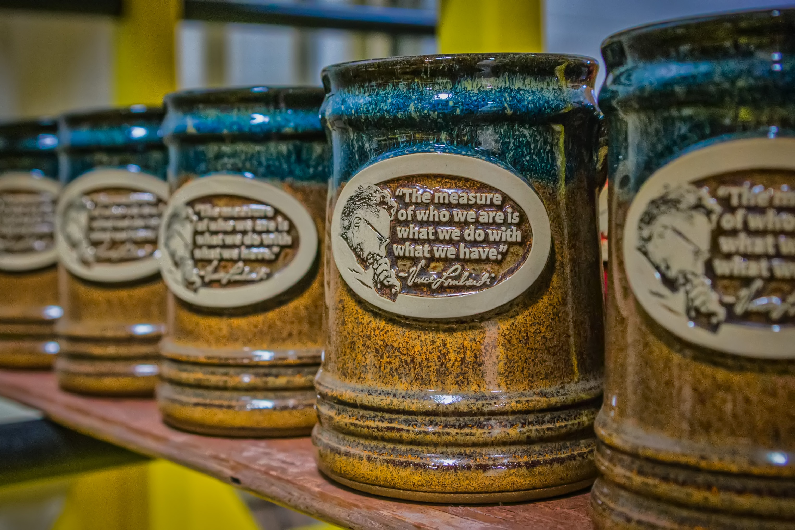 Vince Lombardi quote on a Sunset Hill Stoneware stein