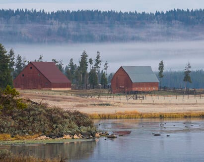 Harriman State Park buildings in fog