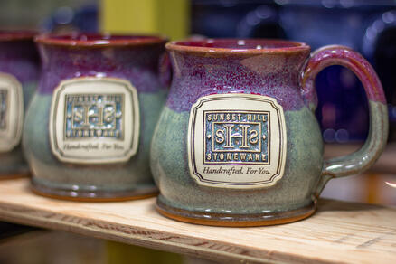 Sunset Hill Stoneware potbelly logo mug in Amethyst Horizon