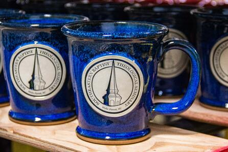 Sunset Hill Stoneware's Morning Rambler for Southeastern Baptist Theological Seminary in Blue Moon