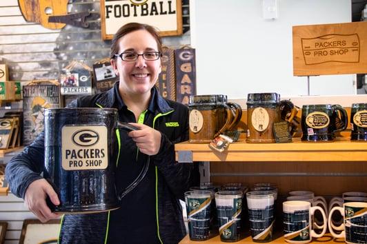 Sunset Hill Stoneware Packers mugs