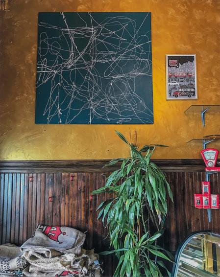 Jordan Johnson Painting in Coffee Shop
