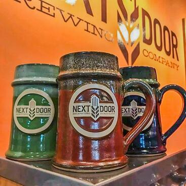 Next Door Brewing Company steins Sunset Hill Stoneware