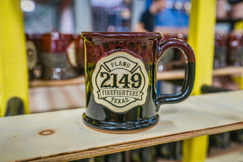 Plano Firefighters mug from Sunset Hill Stoneware in Lava Rock