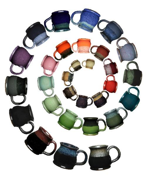 Spiral of Sunset Hill Stoneware mugs