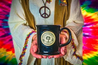 Sunset Hill Stoneware Grateful Dead skull and roses mug