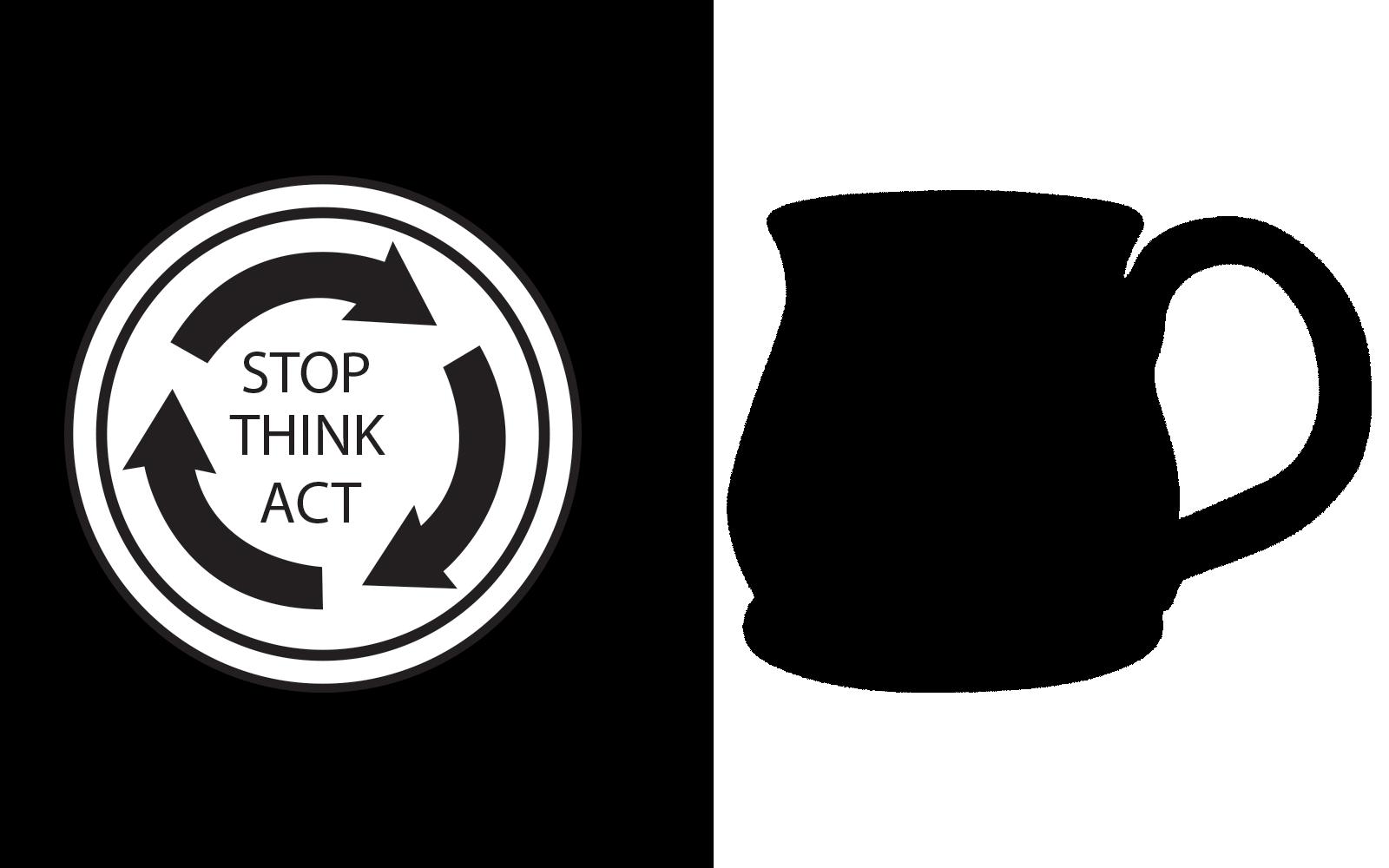 Stop Think Act Mug graphic